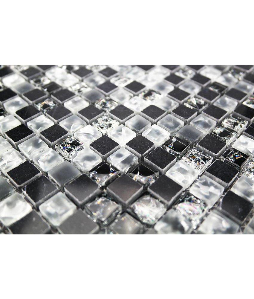 MOSAIKFLIESEN - Glas / Edelstahl / Naturstein - schwarz / weiß - SC4