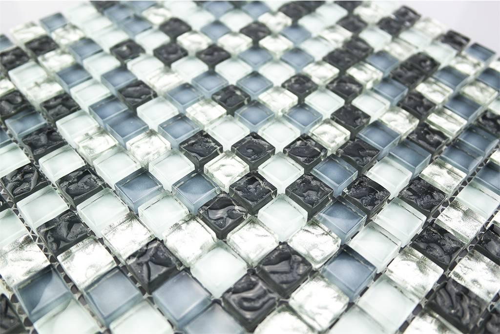 Glasmosaik fliesen weiß silber grau mix gm