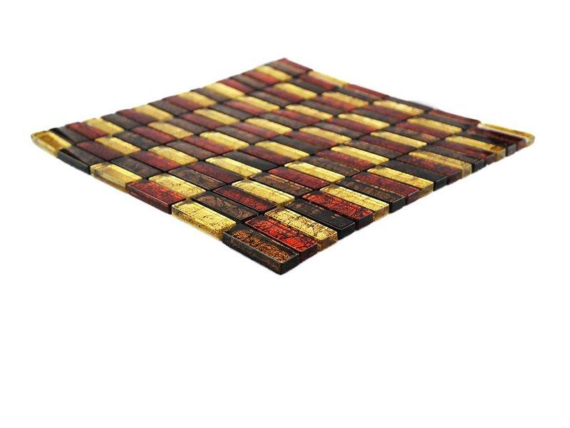 Glasmosaik Braun Gold : GLASMOSAIK FLIESEN - rot / braun / gold - GM1537 - Mosaic Outlet