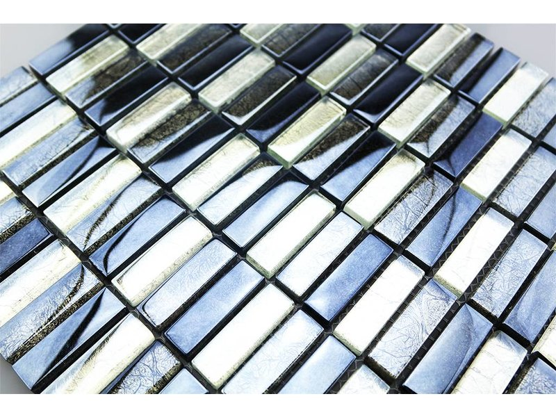 Glasmosaik fliesen silber grau schwarz g1001 for Glasmosaik fliesen