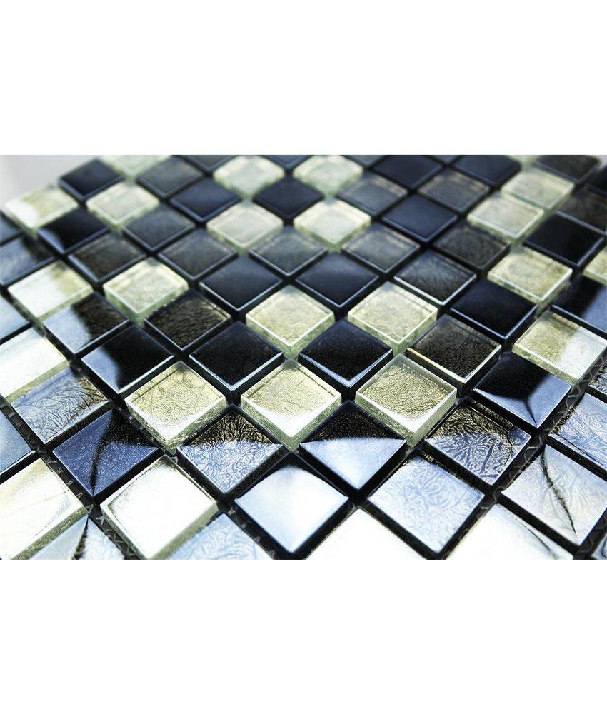 Ansehen GLASMOSAIK FLIESEN   Silber / Grau / Schwarz   G2