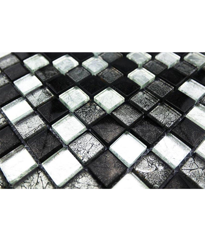 GLASMOSAIK FLIESEN - silber / grau / schwarz - GM2301
