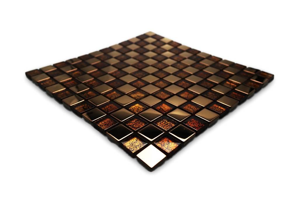 Mosaikfliesen Glas Edelstahl Braun Kupfer G1 Mosaic Outlet