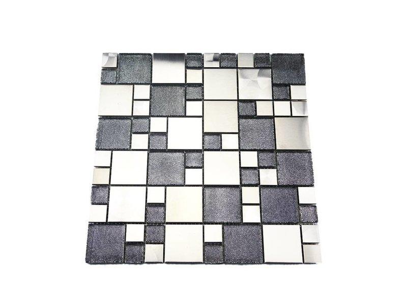 Mosaikfliesen grau  MOSAIKFLIESEN - Valparaiso - Glas / Edelstahl / - grau / silber ...