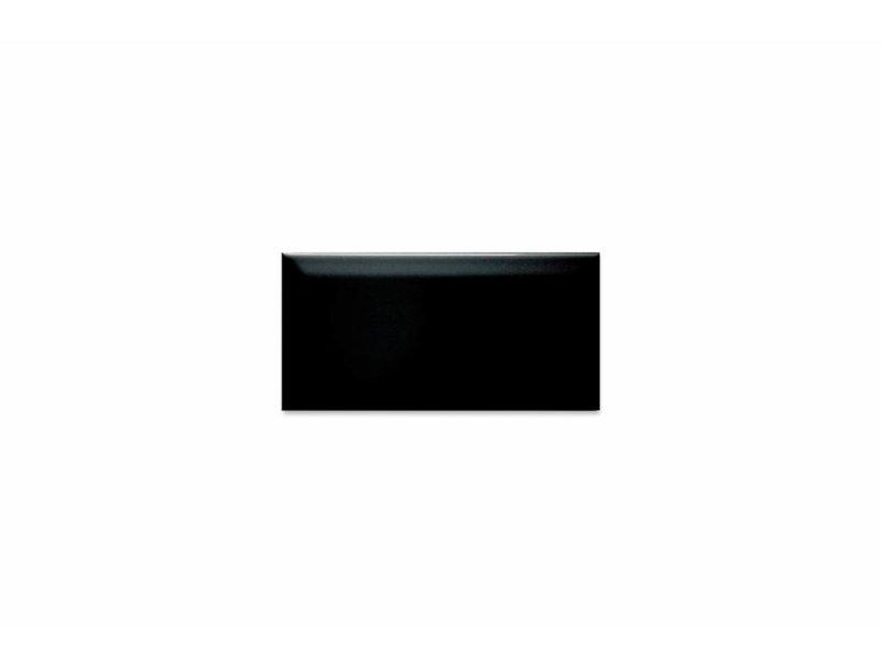 Metro Fliesen mit Facette schwarz glänzend 10x20 cm