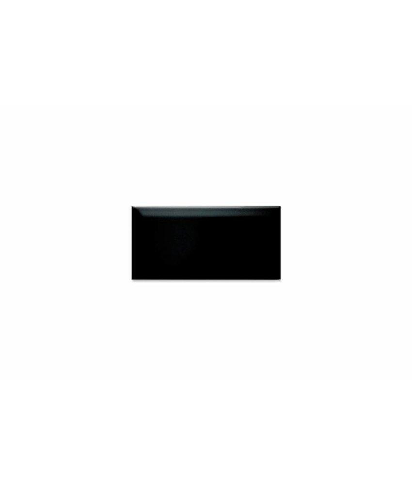 Metro Fliesen mit Facette - schwarz glänzend - 10x20 cm