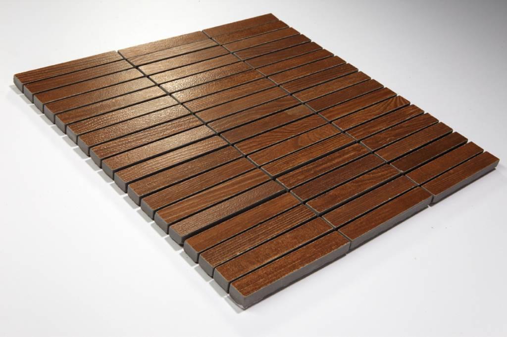 feinsteinzeug mosaik wood holzoptik braun 1 5x10 30x30 cm mosaic outlet. Black Bedroom Furniture Sets. Home Design Ideas