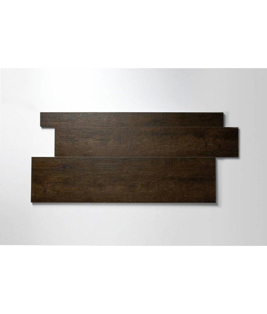 Feinsteinzeug glasiert und eingefärbt - WICKLOW Holzoptik dunkelbraun Format Mix - 7,3+14,8+22,3x90 cm