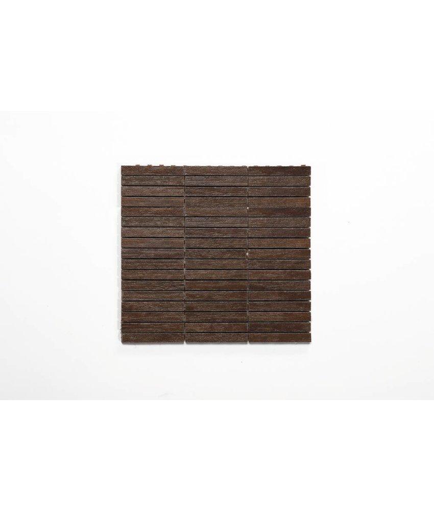 Feinsteinzeug Mosaik - WICKLOW Holzoptik dunkelbraun 1,5x10 - 30x30 cm