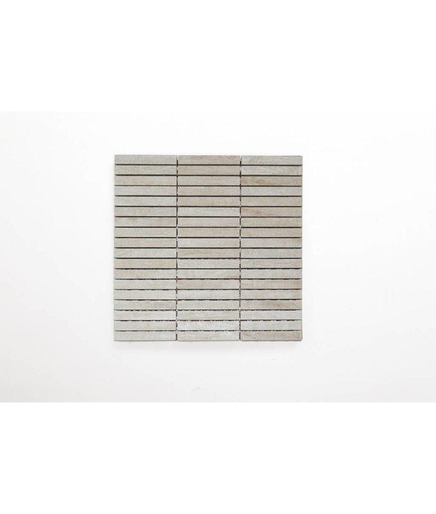 Feinsteinzeug Mosaik - MALLOW Holzoptik weiß 1,5x10 - 30x30 cm