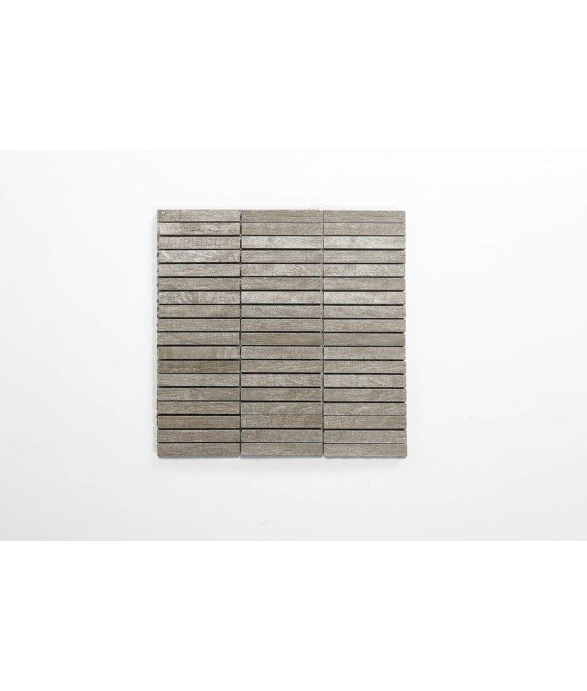 Feinsteinzeug Mosaik - BALLYLOW Holzoptik hellbeige-grau 1,5x10 - 30x30 cm