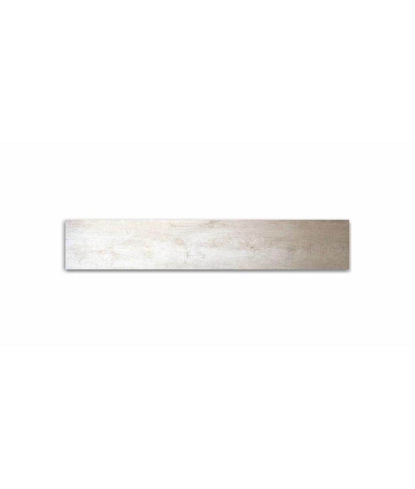 Feinsteinzeug glasiert und eingefärbt - GRANT TREE Holzoptik weiß - 20x120 cm
