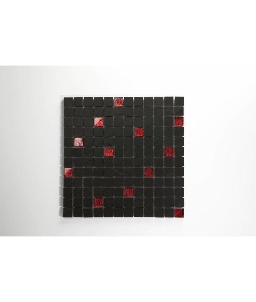 Feinsteinzeug Mosaik - SCHIEFER schwarz anpoliert/ Glas Blattgold rot 2,3x2,3 - 30x30 cm