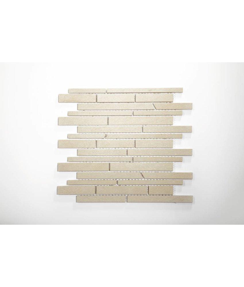 Feinsteinzeug Mosaik - QUARZIT elfenbein schräg geschn. - 30x30 cm
