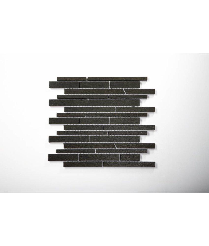 Feinsteinzeug Mosaik - QUARZIT anthrazit schräg geschn. - 30x30 cm