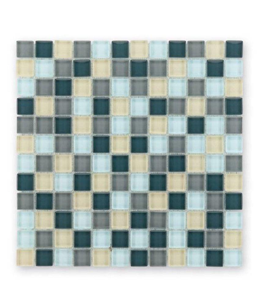 Glasmosaik-Fliesen GL-2411 Translucent silver grey mix