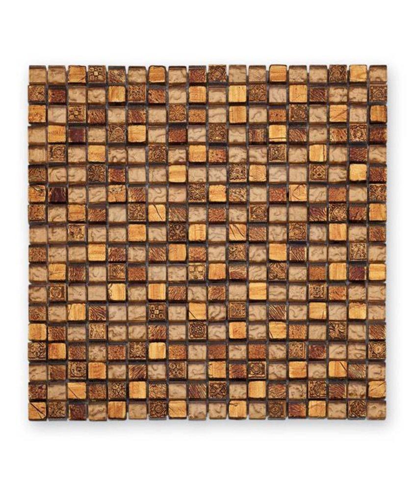 Materialmix-Mosaikfliesen GL-2488 Tuscany warm gold