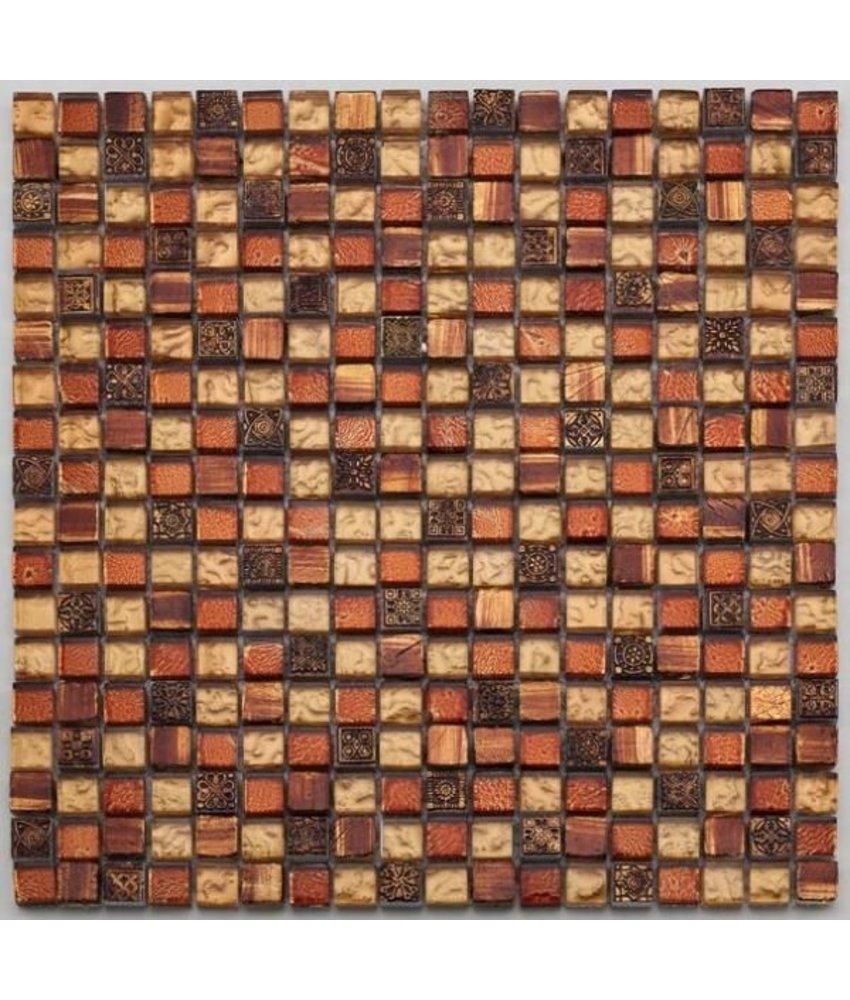 Materialmix-Mosaikfliesen GL-2489 Tuscany golden red