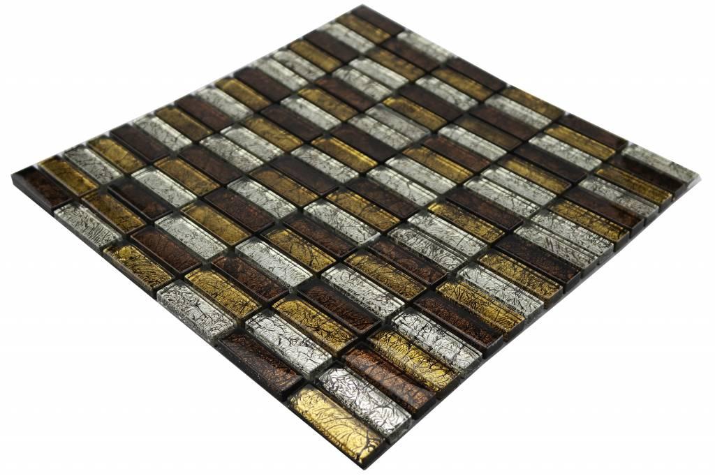 Glasmosaik Braun Gold : Glasmosaik-Fliesen braun, silber, gold GM1533 - Mosaic Outlet
