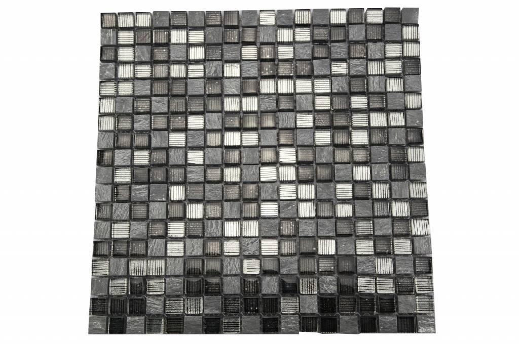 Mosaikfliesen grau  Bunte Mosaikfliesen grau line mix MOT41 - Mosaic Outlet