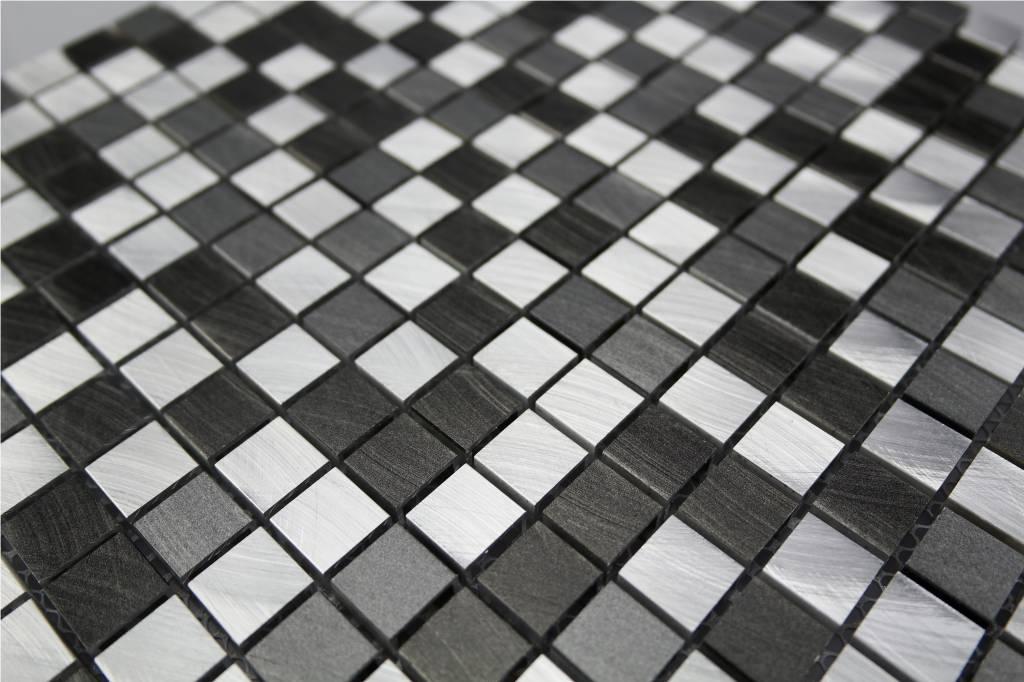 Mosaikfliesen grau  EDELSTAHL Mosaikfliesen silber, grau, anthrazit MOT28 - Mosaic Outlet