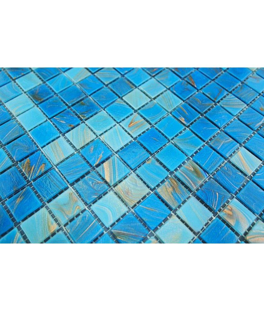 GLASMOSAIK FLIESEN - Split - hell blau / gold mix