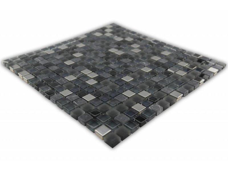 Bunte mosaikfliesen silber schwarz mix grau mix g110 mosaic outlet - Mosaikfliesen silber ...