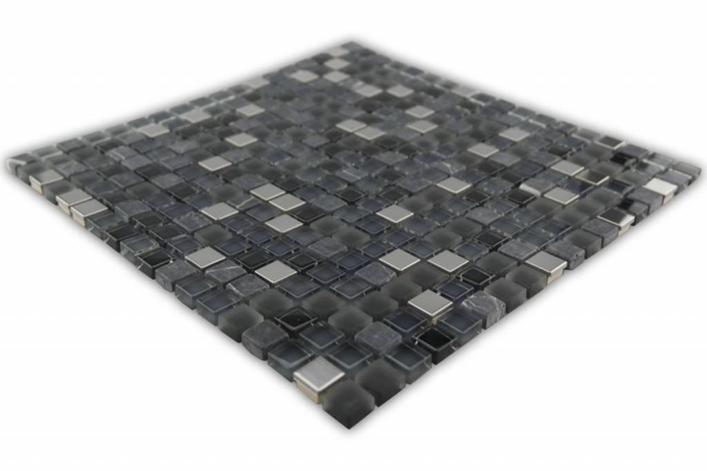 Bunte Mosaikfliesen Silber Schwarz Mix Grau Mix G Mosaic Outlet - Mosaik fliesen grau mix