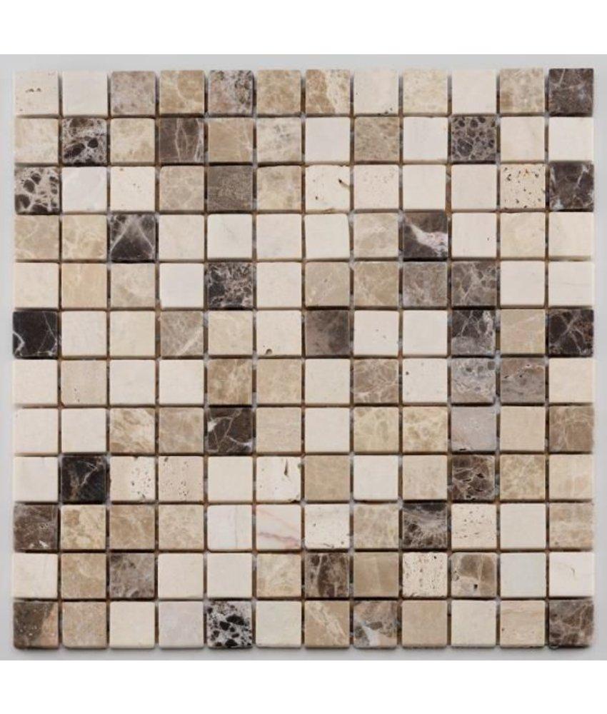 Naturstein Mosaikfliese Square CM-09009 cream beige emperador