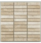 BÄRWOLF Naturstein Mosaikfliese Sticks CM-10020 creme mix