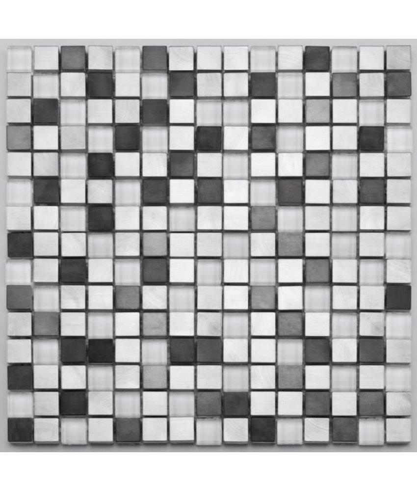 Materialmix-Mosaikfliese Pixel GL-2600 white metal mix