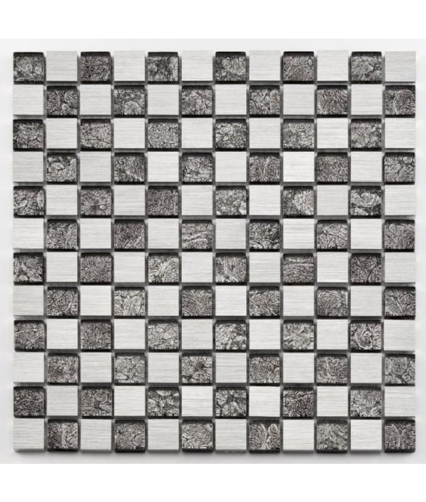Materialmix-Mosaikfliese Oxo GL-10026 platinum black