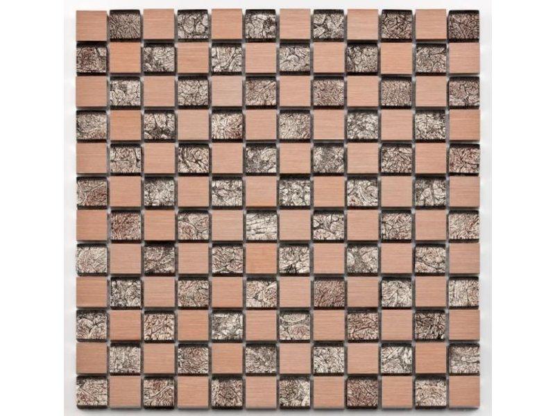 BÄRWOLF Materialmix-Mosaikfliese Oxo GL-10027 metal rose