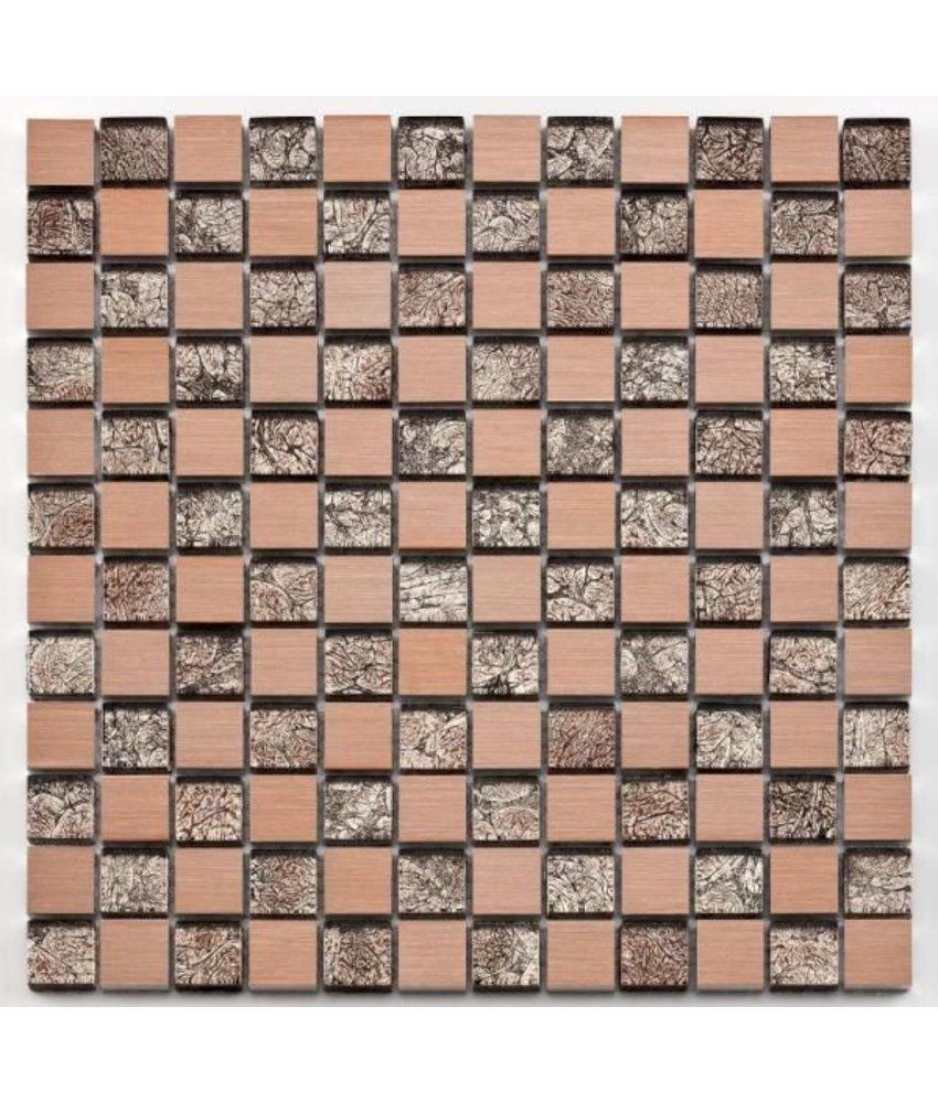 Materialmix-Mosaikfliese Oxo GL-10027 metal rose