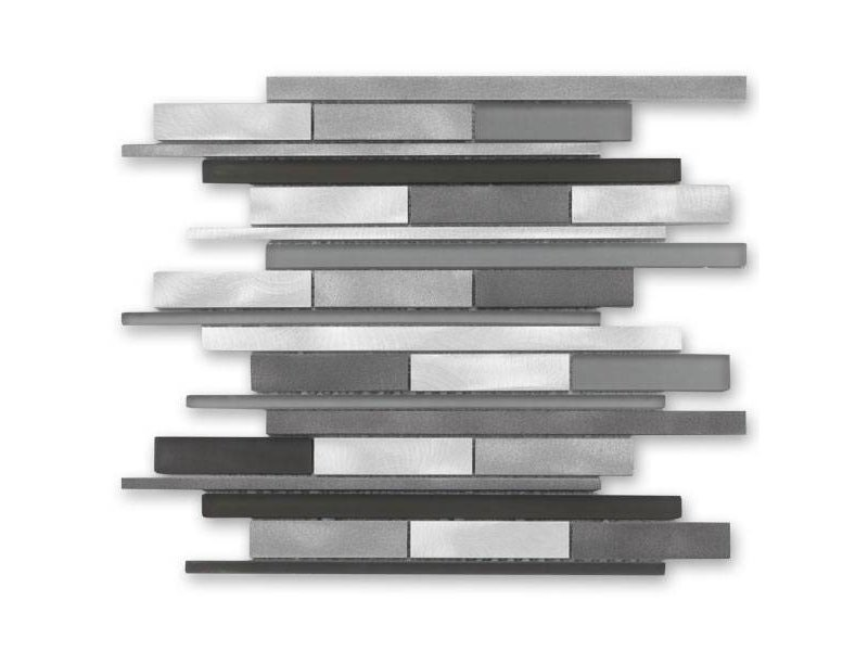 BÄRWOLF Materialmix-Mosaikfliese New York GL-14009 metal grey mix