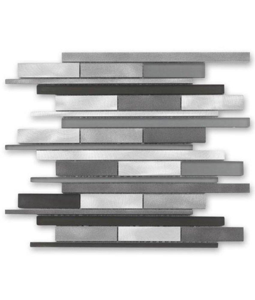 Materialmix-Mosaikfliese New York GL-14009 metal grey mix