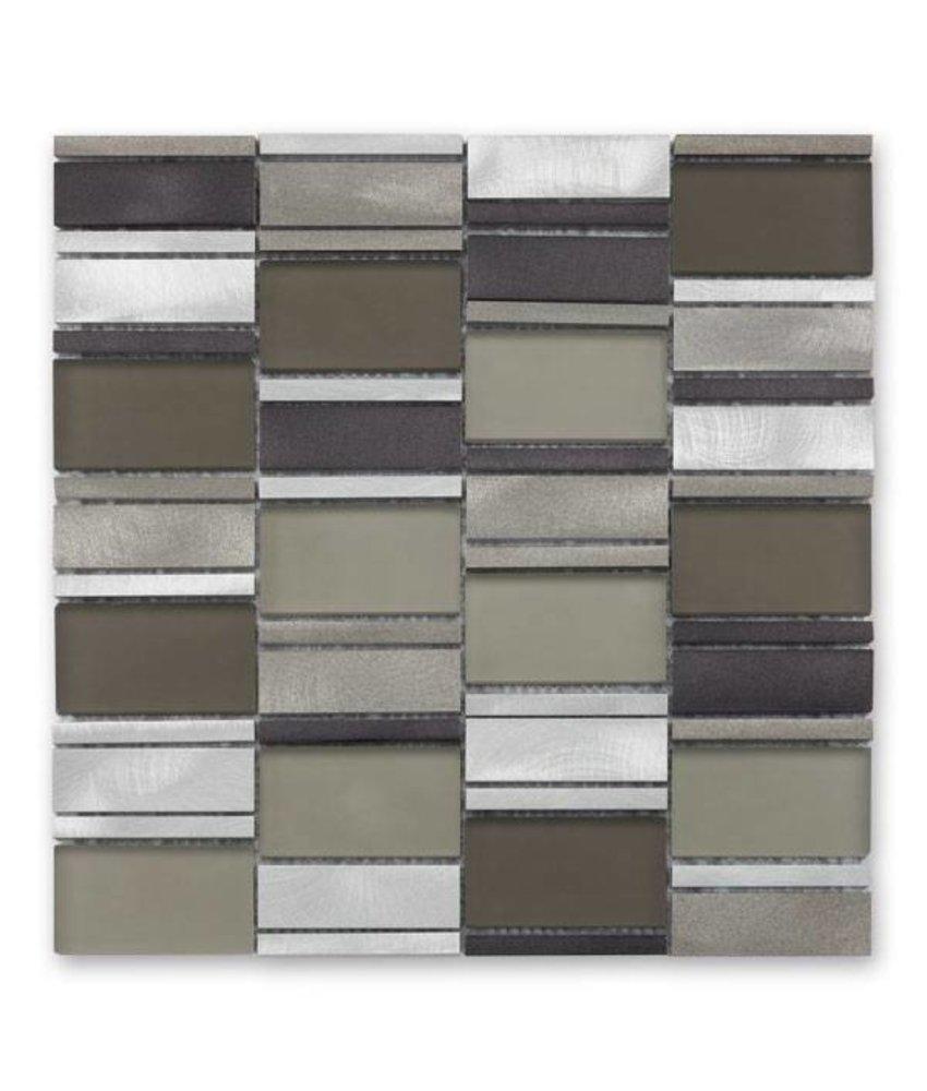 Materialmix-Mosaikfliese New York GL-14012 metal taupe mix