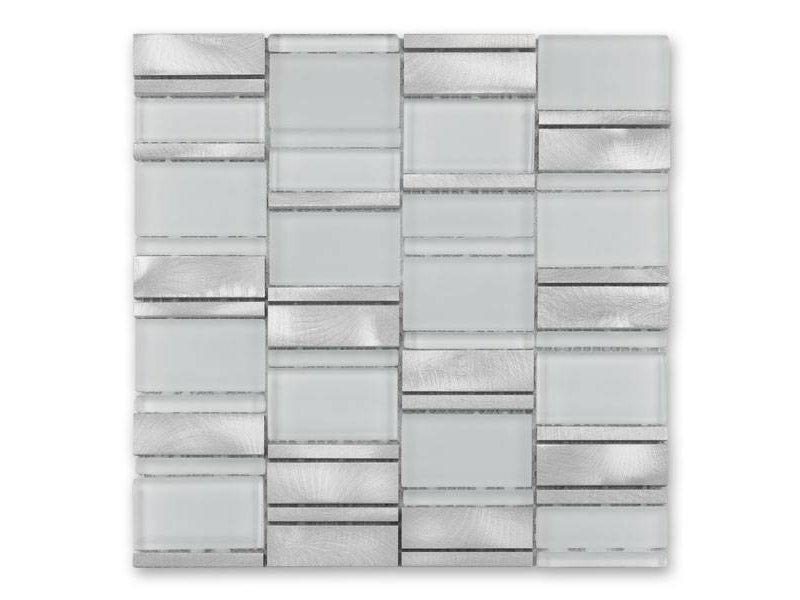 BÄRWOLF Materialmix-Mosaikfliese New York GL-14013 metal white mix