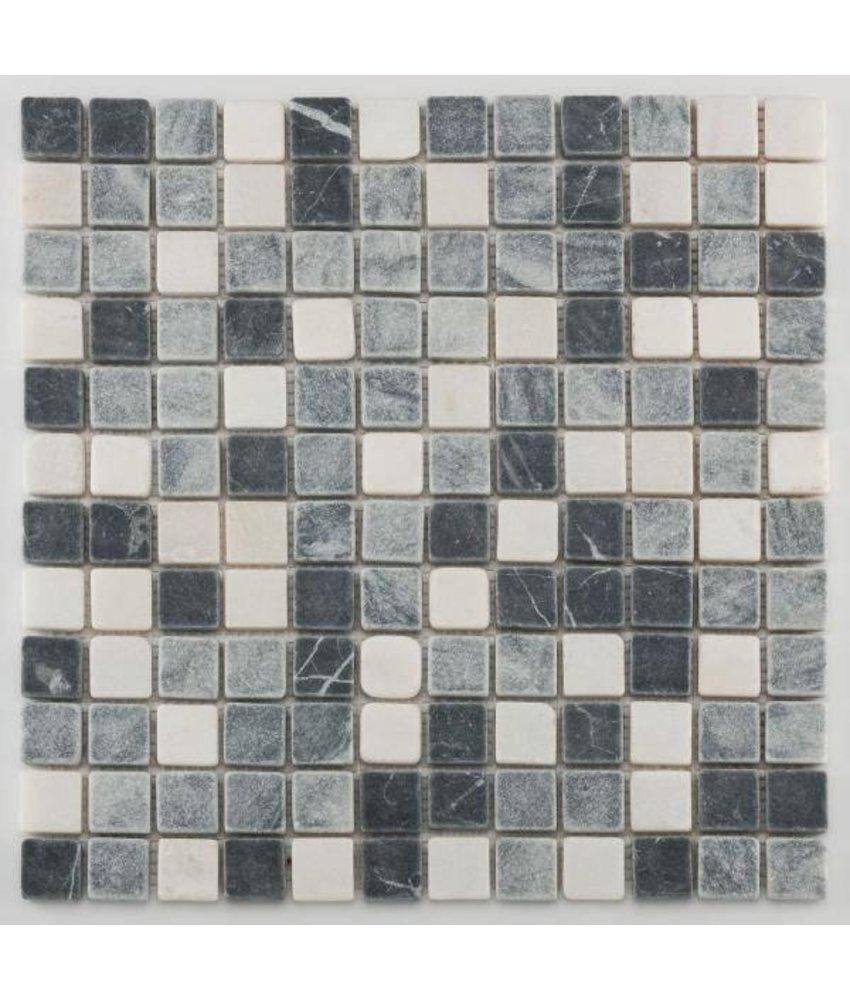 Trittsichere Naturstein Mosaikfliesen Orvieto AM-0011 black grey white