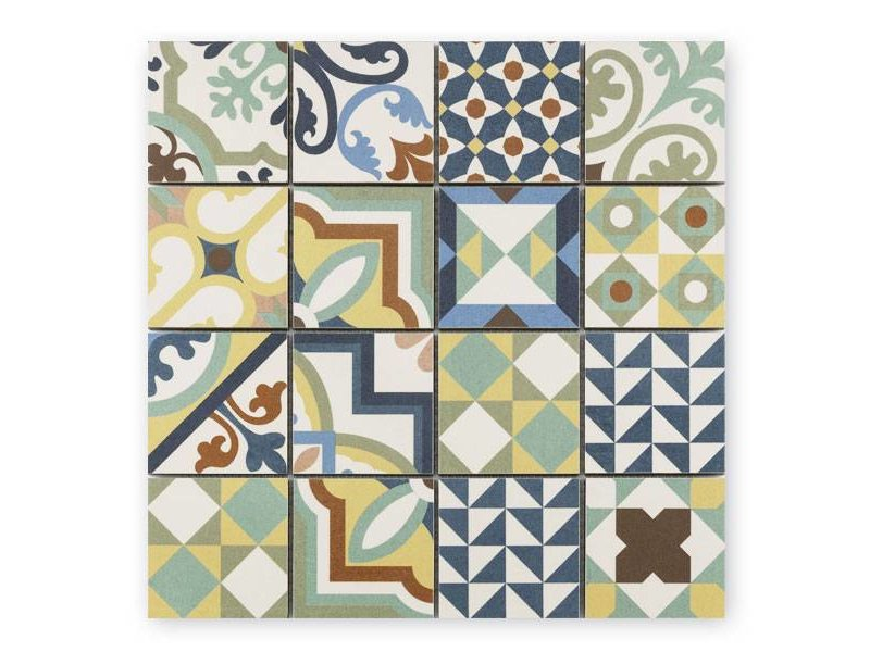 BÄRWOLF Trittsichere Keramik Mosaikfliese Patchwork KEG-14071 mix