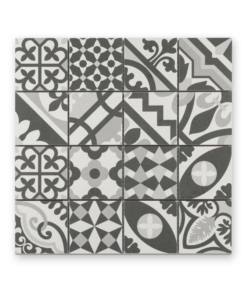 Trittsichere Keramik Mosaikfliese Patchwork KEG-14072 black & white