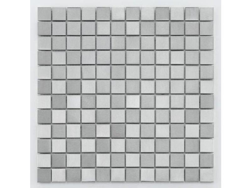 BÄRWOLF Metall-Mosaikfliese Steel MC-0024 silver checkerboard