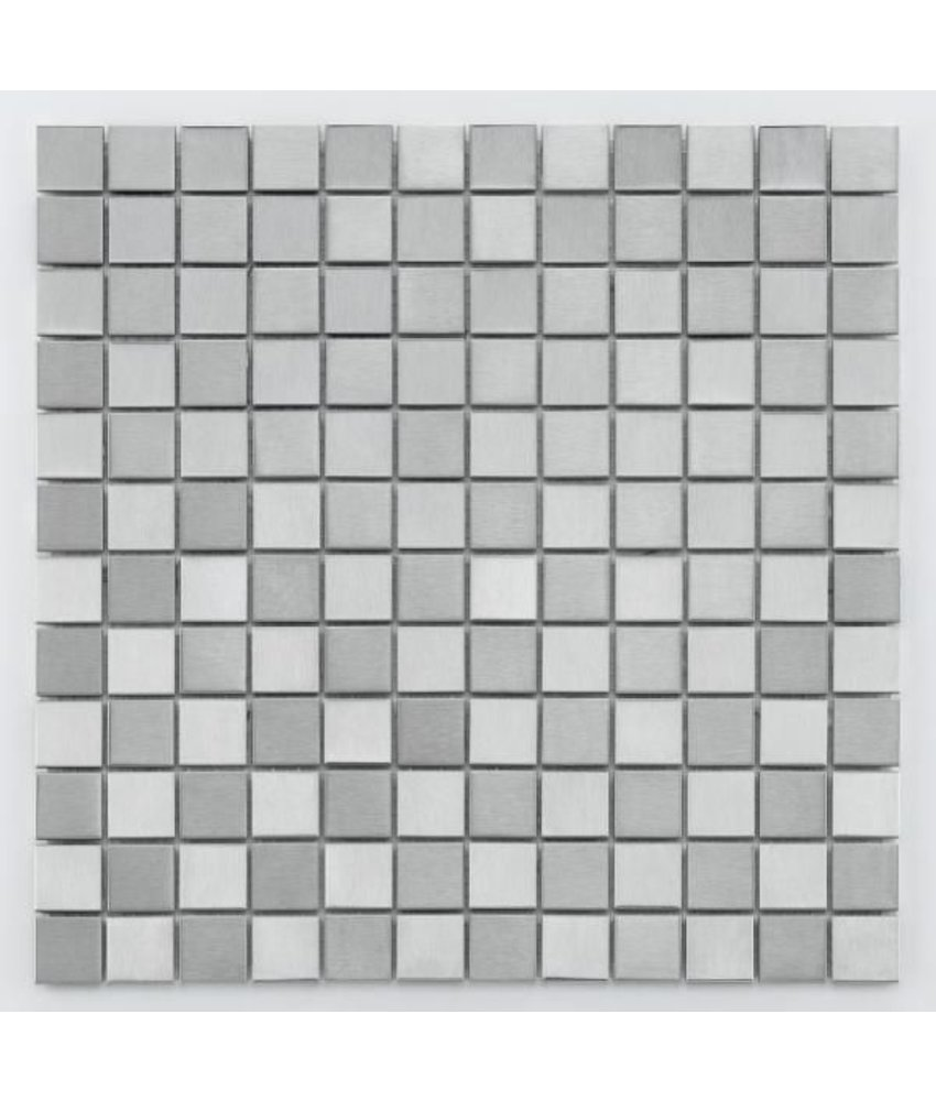 Metall-Mosaikfliese Steel MC-0024 silver checkerboard
