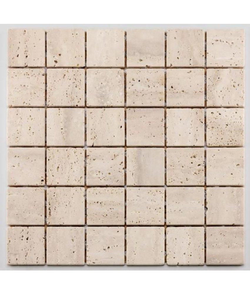 Naturstein Mosaikfliese Square CM-09010 white, beige