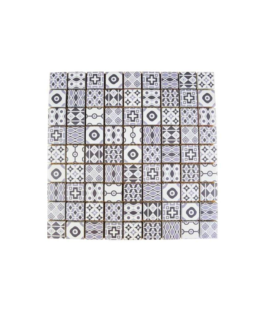 GLASMOSAIK FLIESEN - Patchwork Grey - grau/weiss