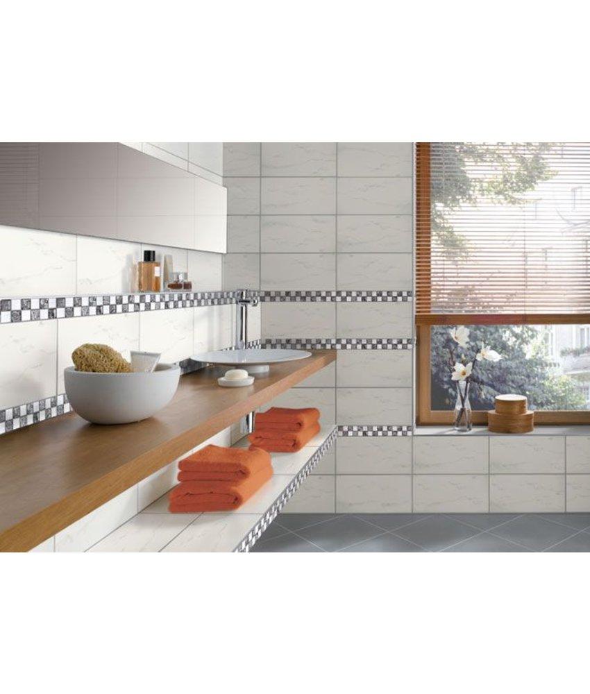 Wandfliesen Castello 3060240K Weiß marmoriert & rektifiziert - 30x60 cm