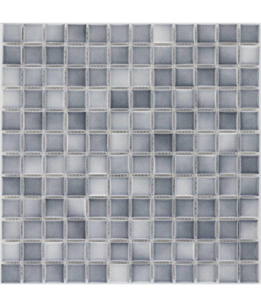 Keramik Mosaikfliese Grau Melange, matt - 33 cm x 33 cm