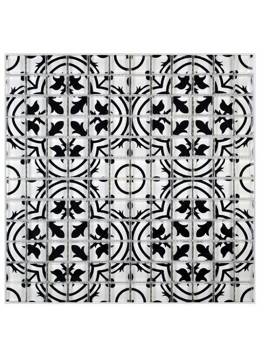 Glasmosaik Vintage Retro Schwarz Weiß, glänzend - 30 cm x 30 cm