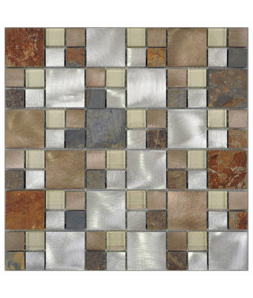 Mosaik Quarzit & Alu Silver Slate Beige Grey 30 cm x 30 cm