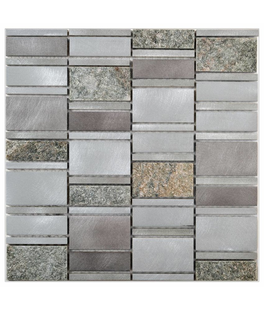 Mosaik Alu & Quarzit Grey 29,6 cm x 30 cm
